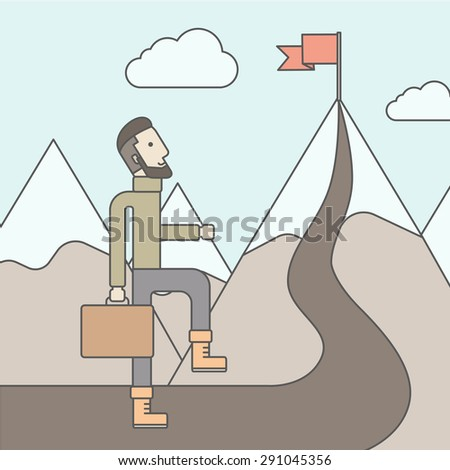 The man with a beard carrying a suitecase climbing a mountain to attain success. Success concept. Vector flat design Illustration. - stock vector