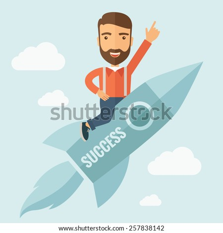 The man with a beard flying on the rocket raising his hand in the air. Success concept. Vector flat design Illustration. - stock vector