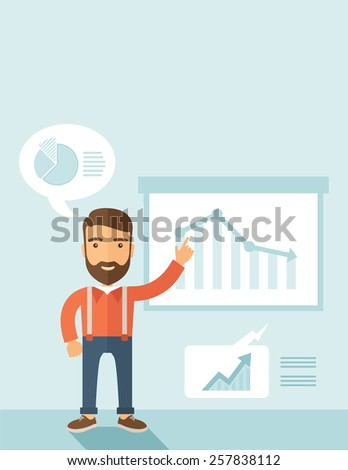 The man with a beard presenting his report through infographics in office. Reporting concept. Vector flat design illustration. Vertical layout with a text space in a top. - stock vector