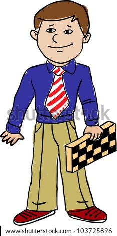 the man with chess, drawing - stock vector