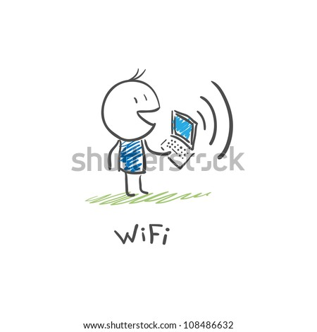 The man with the laptop to connect to the Internet via Wi Fi - stock vector