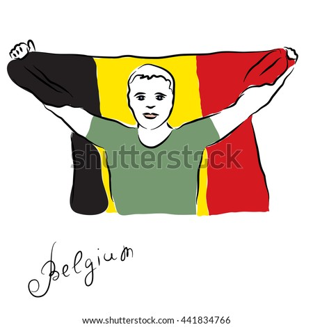 The man with the national flag of Belgium in his hands. Fan. Freehand vector illustration. - stock vector