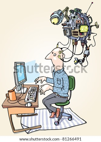 The man with the superdevice connected to his head is working on the computer. - stock vector