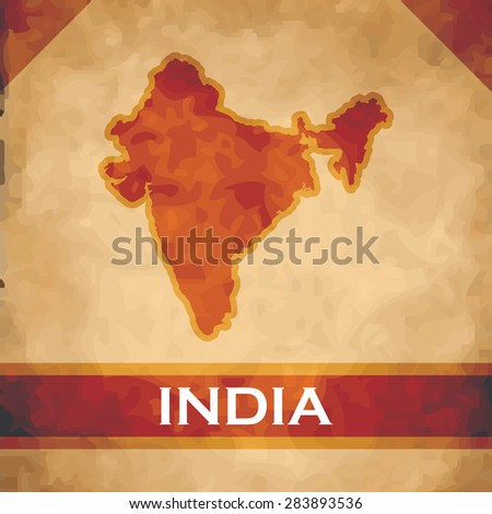 The map of India on parchment with dark red ribbons - stock vector