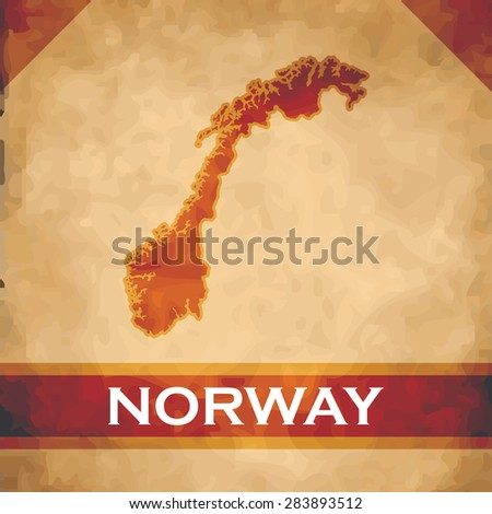 The map of Norway on parchment with dark red ribbons - stock vector