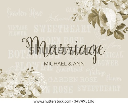 The marriage card with template names for your personal design. Ready for print. Leaves frame over gray background. Elegant marriage design. Vector illustration.