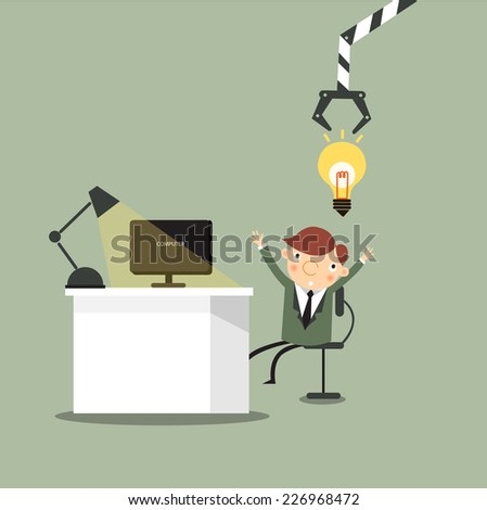 The matchine is stealing idea from businessman while he working,vector,illustrator. - stock vector