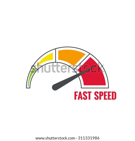 The measuring device with a color scale. Green, yellow, orange, red. Speedometer. The concept of maximum acceleration and speed.  - stock vector