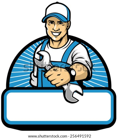 the mechanic mascot with the wrench - stock vector