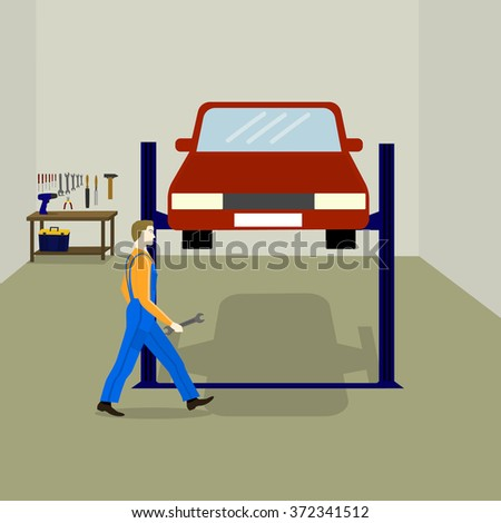 the mechanic repairs the car in the service station. table with work tools, tool box, auto lift for car - stock vector