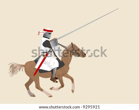 The medieval knight on a horse - stock vector