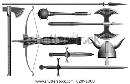 the medieval weapons - stock vector
