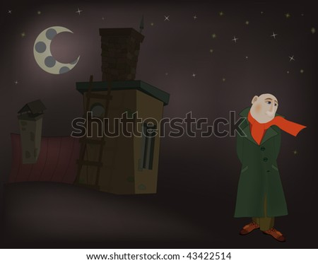 the men and night - stock vector