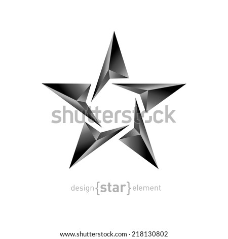 The Metal vector star on white background. Corporate logotype template - stock vector
