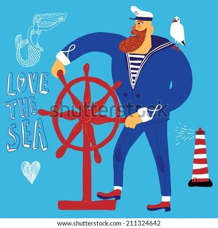 The mighty cartoon sailor with ship's wheel. - stock vector