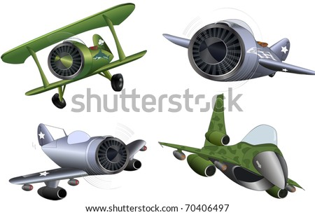 The  military planes clip art - stock vector