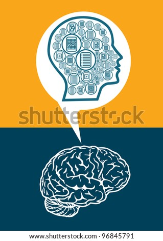 The modern man's thinking, abstract illustration with icons - stock vector