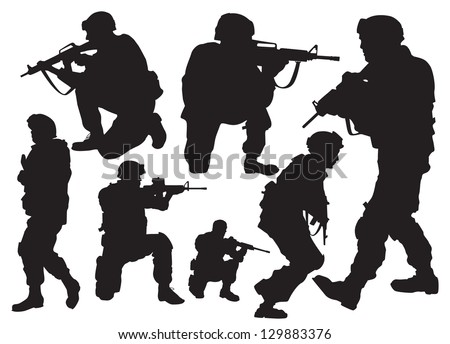 the modern soldier in combat positions - stock vector