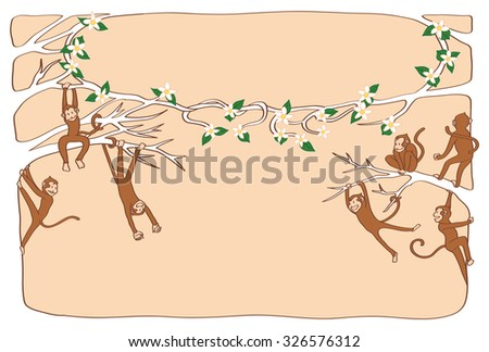 The monkey pals are playing in the top of the tree. postcard template