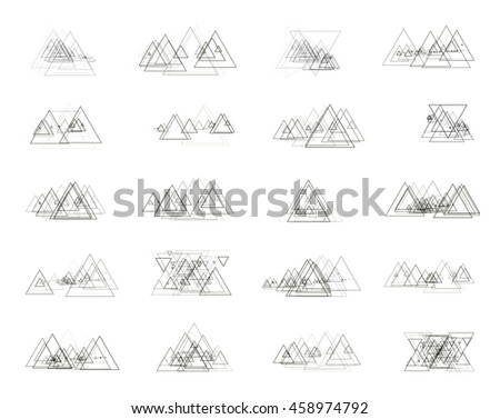 The monochrome gray set isolated elements for design of posters, maps, brochures and headers architectonic sites. Isolated objects on white background can be edited 2. Vector illustration - stock vector