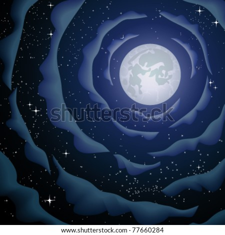 The moon and clouds - stock vector