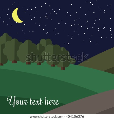 The Moon Lights on a Clearing in the Forest.  - stock vector