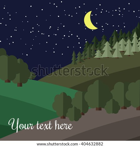 The Moon Lights on Edge of the Forest at Night.  - stock vector