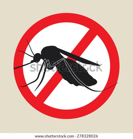 the mosquitoes stop sign - vector image of a mosquito in a red crossed out circle - stock vector