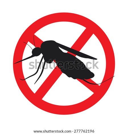 the mosquitoes stop sign - vector image of funny of a mosquito in a red crossed out circle - stock vector