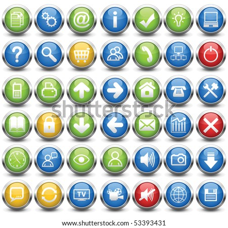 The most necessary buttons for a Web site and programs (42 buttons, vector illustration). - stock vector