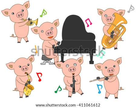 The music concert of the piglet. - stock vector