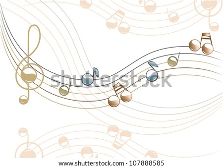 The musical illustration. In beige - blue. Vector.