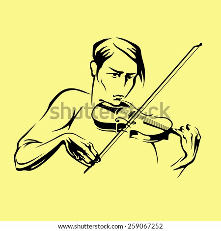 The musician playing violin. Vector silhouette.