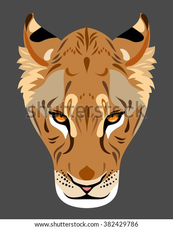 The muzzle of a lioness - stock vector