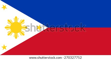 The national flag of the Republic of the Philippines in both color and proportions - stock vector