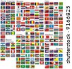 the national flags of all countries of the world separated by continents and reduced by alphabetical order - stock photo