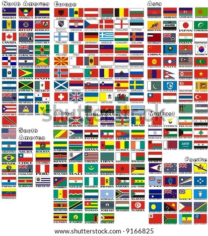 the national flags of all countries of the world separated by continents and reduced by alphabetical order - stock vector