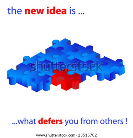 the new idea is what defers you from other - stock vector