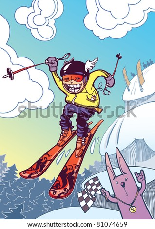 The newschool skier is sliding down and jumping from the snow cliffs.