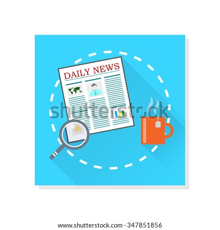 The newspaper, magnifier and tea vector illustration. - stock vector