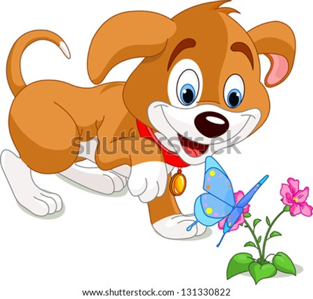 The nice puppy looking to the butterfly - stock vector