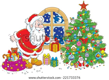 The night before Christmas, Santa Claus putting his holiday gifts under a decorated fir - stock vector