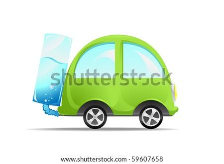 The non-polluting car. Illustration - stock vector