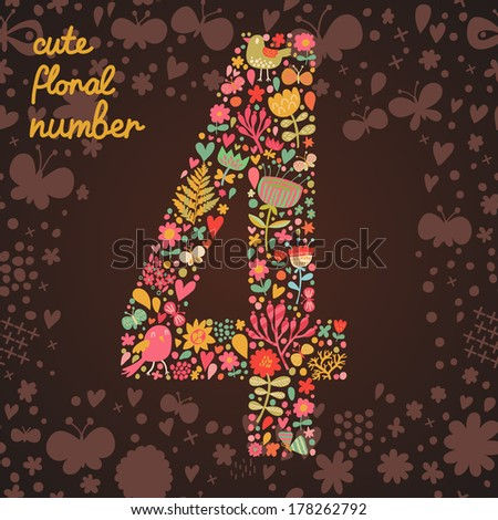 The number 4. Bright floral element of colorful alphabet made from birds, flowers, petals, hearts and twigs. Summer floral ABC element in vector - stock vector