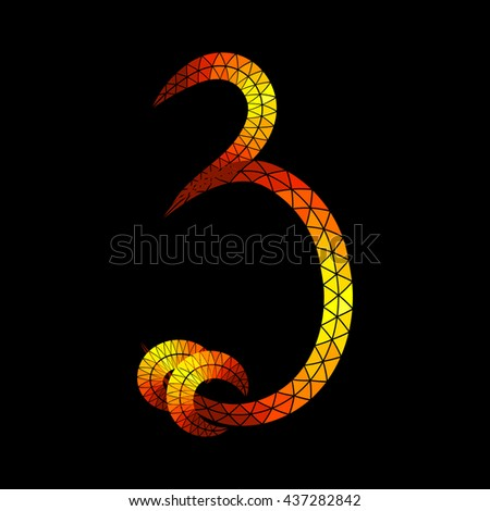 "The number ""3"" consists of triangular elements on black background. Imitation glowing gold. Script font without gradients."