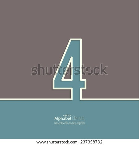 The number 4. four. abstract background. Outline. Logo or corporate identity - stock vector