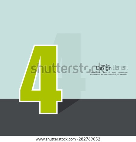 The number 4. four. abstract background. Outline. Logo or corporate identity. 