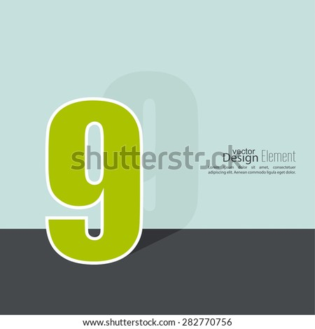 The number 9. nine. abstract background. Outline. Logo or corporate identity. 