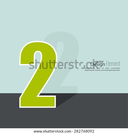 The number 2. two. abstract background. Outline. Logo or corporate identity. 