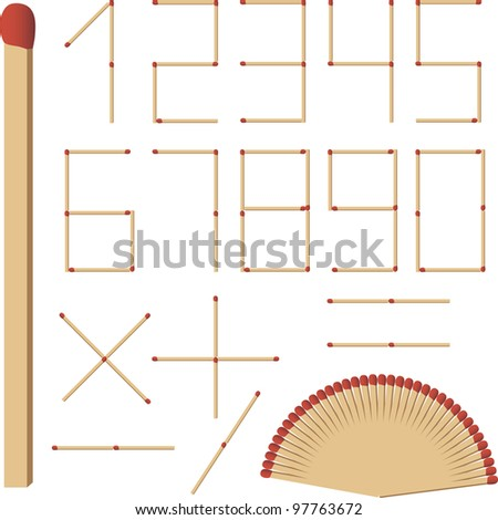 The numbers of match - stock vector